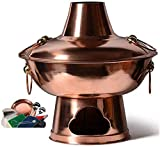Olla caliente de cobre de carbón de leña antiguo tradicional chino de primera calidad, olla Shabu, buffet de uso doméstico para acampar-Copper||M