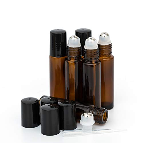 10ml Roller Bottles 6Pack Amber Thick Glass Essential Oil Roller Bottles Stainless Steel Roller Ball with 2 Droppers