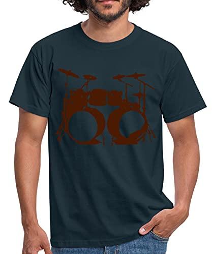 Schlagzeug, Drums, Drummer, Schlagzeuger, Musik, Instrument, Double bass Männer T-Shirt, 4XL, Navy