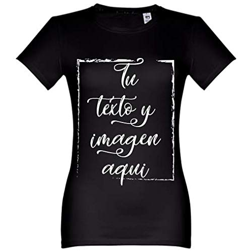 Oneroi Custom Camiseta de Mujer Personalizada con Foto, Women t-Shirt Personalizable con imagenes y Texto (Negro, M)
