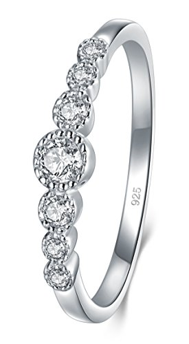 BORUO 925 Sterling Silver Ring, Cubic Zirconia CZ Eternity Engagement Wedding Band Ring Size 5.5