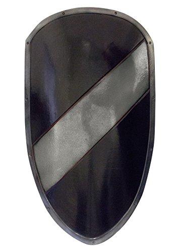Mittelalterlicher RFB Großschild in schwarz/silber aus Schaumstoff Ritter Schild LARP Mittelalter