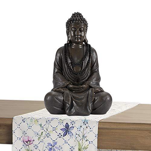 Estatua de Buda, Jardín decoraciones al aire libre Buda escultura con collar adornos de patio Buda estatua de la habitación Decoración Buda Figurine Zen