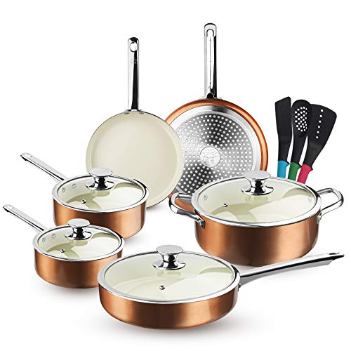 FRUITEAM 13Piece Cookware Set Nonstick Ceramic Coating Cooking Set Induction Pots Pans Set with Lids Heavy Duty Stainless Steel Handles Induction Oven Gas Stovetops Compatible for Family Meals