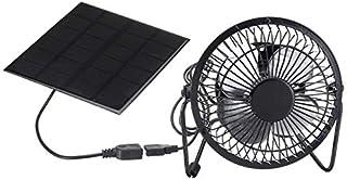 DKHF Fan Ventilador de ventilación de enfriamiento de 4 Pulgadas USB Ventilador de Hierro con Panel Solar para Oficina en casa Pesca al Aire Libre
