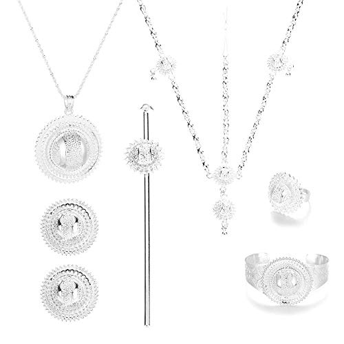 Pendientes colgantes coloridos de plata de moda etíope con anillo de cadena, pulsera Habesha, conjunto de joyas de Eritrea para bodas