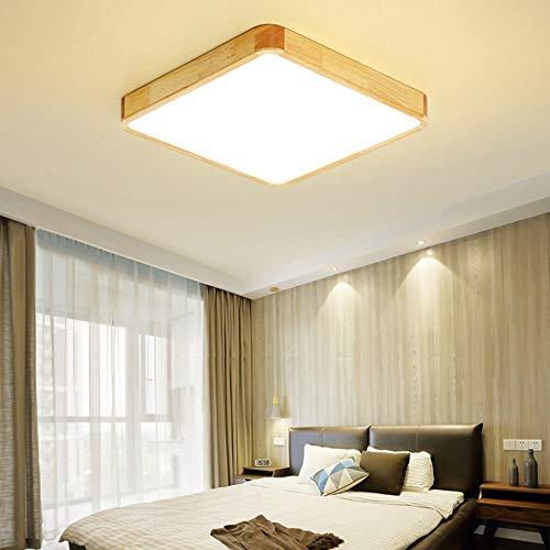 Faus Koco Madera Cuadrado LED de la lámpara Puede ser Personalizado acrílico Cocina lámpara de Techo Regulable con Control Remoto Control de luz cálida (Color : Luz Calida)