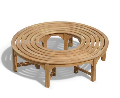Teako Design S-Form Rundbank Baumbank Fermo wetterfest Teakholz massiv Außendurchmesser 220 cm, 360°