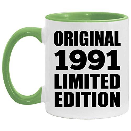 30th Birthday Original 1991 Limited Edition - 11oz Accent Mug Green Kaffeebecher 325ml Grün Keramik-Teetasse - Geschenk zum Geburtstag Jahrestag Weihnachten Valentinstag