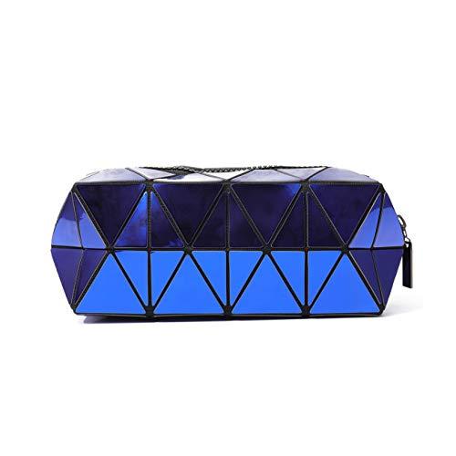 Nicute Geometric Cosmétique Sac à main Lumineux Maquillage Sac à Main Lumineux Géométrique Lumineux Sac à Main à Main Treillis Trousse Cosmétique (Bleu)
