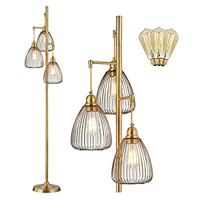 Floor Lamp, LeeZM Standing Farmhouse Lamp with 3 Attractive Teardrop Cage Head,Tall Rustic Vintage Pole Lighting with 3 Edison Bulbs,Torchiere Tree Industrial Lamp for Living Room,Office - Brown Brass