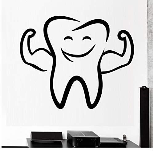 Tong99 cartoon tand glimlach vinyl wandtattoo tandarts stomatologie tandkliniek muur raam decor sticker wooncultuur kinderkamer 68x56 cm