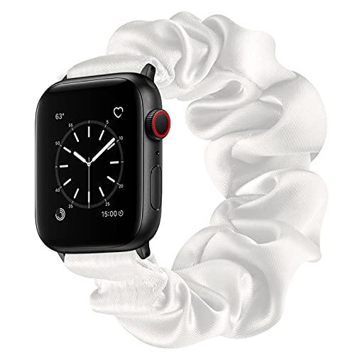 Compatible con Apple Watch Series 1 2 3 4 5 6 SE Bandas, Correa Scrunchie Correa de Reloj Elástica para Mujeres Correa de Pulsera de Tela Color Sólido Moda para iWatch 42/44mm 38/40mm,White,38/40mm(S)