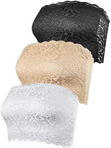 Voqeen 3 Piezas Banda de Sujetador de Mujer Bandeau de la Ropa Interior del Tubo Bandeau Sin Tirantes del Estiramiento en Multicolor