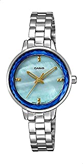 CASIO Stainless Steel Band Shell-Dial Analog Watch For Women - Silver
