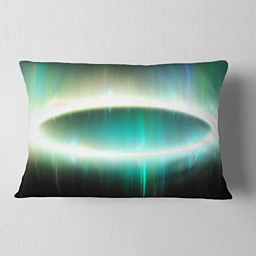 Designart Large Green Oval Fractal Light Abstract Throw Lumbar Cushion Pillow Cover For Living Room Sofa 12 In X 20 In Shefinds