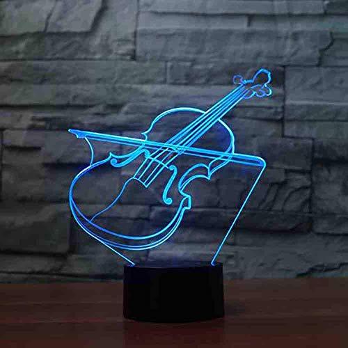 Nachtlampjes in de viool 3D geven de muziekinstrument-nachtlamp-note, die kleurrijk is voor baby-slaapkamer-decoratie-kinderen