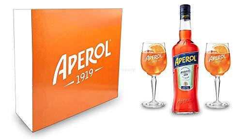 Aperol Geschenkset - Aperol Aperitivo Italiano 0,7L (11% Vol) + 2x Aperol Gläser/Glas- [Enthält Sulfite]
