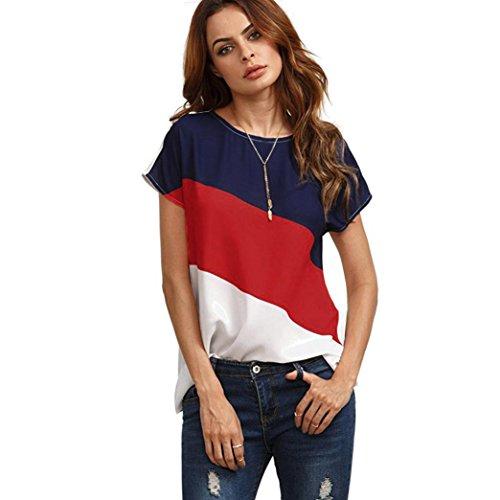 MRULIC Damen Kurzarm T-Shirt Rundhals Ausschnitt Lose Hemd Pullover Sweatshirt Oberteil Tops (EU-38/CN-M, Rot1)