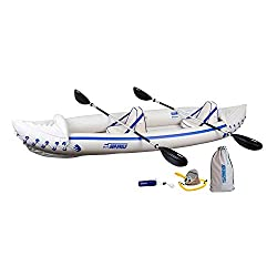 in budget affordable Sea Eagle 370 Pro 3-seater inflatable portable sports kayak canoe boat with paddle