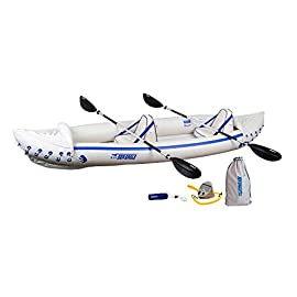 """Sea Eagle 370 Pro 3 Person Inflatable Portable Sport Kayak Canoe Boat w/ Paddles 4 3 person/650 lb capacity, weighs 32 lbs, suitable for up to Class III whitewater 370 Deluxe Kayak Package features two movable, super comfortable Deluxe Kayak Seats for improved back support and 2 paddles, foot pump, and carry bag 2 AB30 7'10"""""""" 4 Part Paddles with asymmetrical blade and aluminum shaft"""