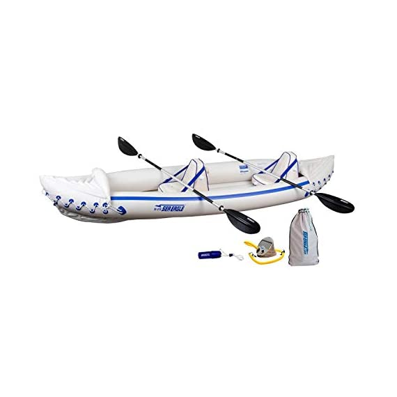 """Sea eagle 370 pro 3 person inflatable portable sport kayak canoe boat w/ paddles 1 3 person/650 lb capacity, weighs 32 lbs, suitable for up to class iii whitewater 370 deluxe kayak package features two movable, super comfortable deluxe kayak seats for improved back support and 2 paddles, foot pump, and carry bag 2 ab30 7'10"""""""" 4 part paddles with asymmetrical blade and aluminum shaft"""