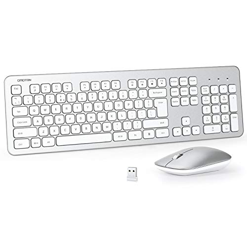 OMOTON Wireless Keyboard and Mouse Combo, 2.4GHz Ultra Thin Full-Size Wireless Keyboard and Mouse for Computer, PC, Desktop, Laptop with Windows XP / 7/8 / 10 / Vista, White & Silver