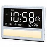 SICSMIAO Large Digital Alarm Clock Radio for Bedroom, 8'' Dimmable Calendar Day Clock, FM Radio, Night Light, 12/24H, USB Charger Ports, Shelf Stand Wall Mounted for Aged Seniors Kids.(White)