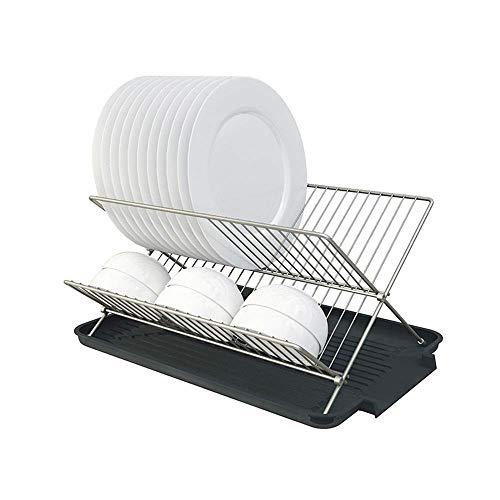 WYBW Escurridor de platos, Escurridor de platos con bandeja de goteo extraíble, Escurridor de platos para la cocina Escurridor de vasos de platos (Color: Plata, Tamaño: 42.5X31.3X20.5Cm)