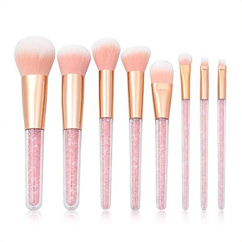 Pinceau de Maquillage Pinceau de Maquillage Cristal Transparent poignée Pinceau pour Les Yeux de Particules de Diamant Rose (8pcs)