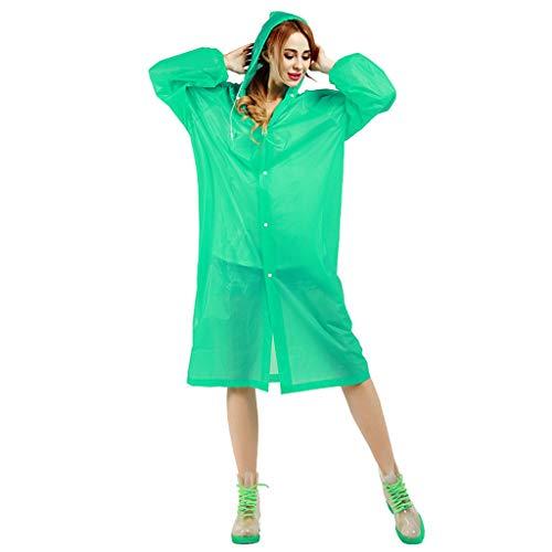 CRITY Regenmantel, Erwachsener Regenmantel PEVA Wiederverwendbar Regenmantel Durchsichtig Regenmantel Wasserdicht Regenschirm Tragbar Zusammenklappbar Sonnenschirm Im Freien Reisen Regenschutz (Grün)