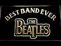 The Beatles Best Band Ever LED看板 ネオンサイン ライト 電飾 広告用標識 W60cm x H40cm イエロー