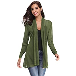 Abollria Waterfall Cardigan for Women Summer Lightweight Long Sleeve Open Front Cardigans