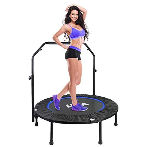 LBLA Foldable 40' Mini Trampoline, Max. Load 300lbs Indoor Fitness Trampoline with Adjustable Handle, Rebounder Trampoline Cardio Trainer Workout for Adults or Kids