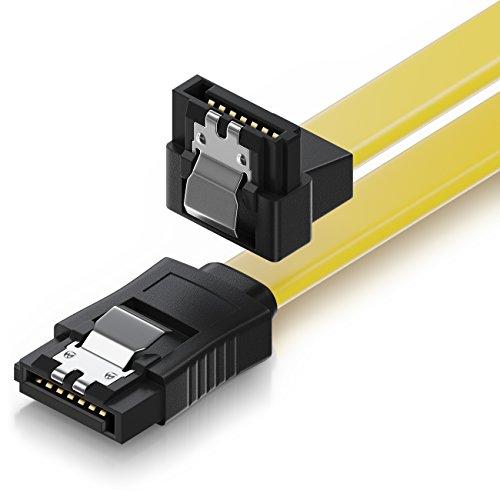 deleyCON 30cm SATA III Kabel S-ATA 3 Datenkabel Verbindungskabel Anschlusskabel für HDD SSD mit Metall-Clip - 6 GBit/s - 1x Gerade 1x 90° L-Type Stecker - Gelb