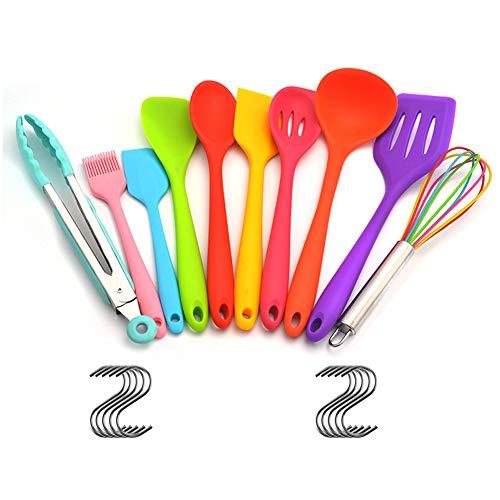 Atfung Set de utensilios de cocina de silicona de 10 piezas Herramientas de silicona antiadherente resistentes al calor (Colores múltiples)