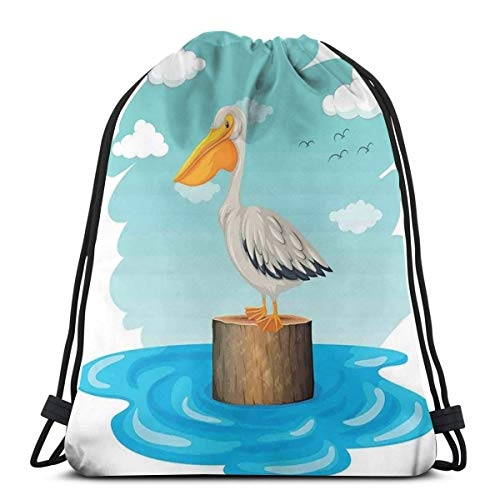 LLiopn Drawstring Sack Backpacks Bags,Single Aquatic Bird Standing On A Log Water Blue Sky with Clouds Clipart Style,Adjustable.,5 Liter Capacity,Adjustable.