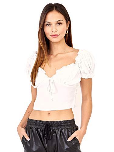 Anna-Kaci Womens Bavarian Dirndl Blouse Waitress Renaissance Crop Top, White, Medium