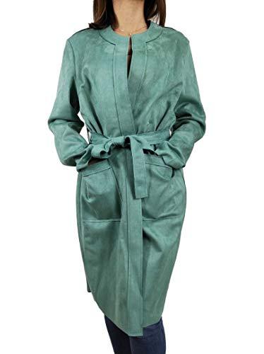 Carla Ferroni Spolverino donna lungo in alcantara eco dainetto giacca P/E21 art 16002 (VERDE ACQUA, XXL)