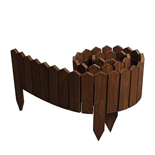 BOGATECO Rollborder Holzlatten | 20cm Hoch & 200cm lang | Holz-Zaun | Staketenzaun Perfekt als Beet-Umrandung oder Weg-Abgrenzung | Dunkelbraun
