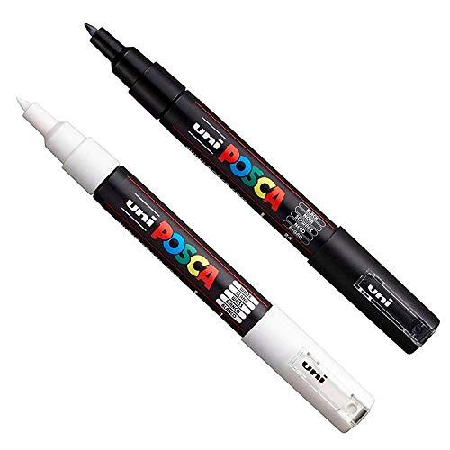 Posca - set di pennarelli PC-1M, per decorazioni su tessuti, vetro e metallo, colori: nero + bianco (1 pezzo di ciascun colore)