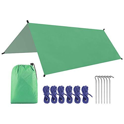 Lona de camping impermeable de 3 x 3 m, lona para tienda de campaña, toldo de lluvia multifuncional, toldo de playa portátil para diversión en el patio trasero o picnics