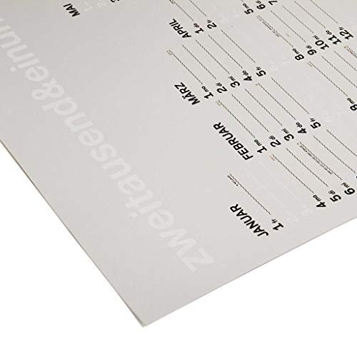 zweitausend&einundzwanzig | JAHRES-WANDKALENDER 2021 | Weiss Schwarz Gold | A1 84×59 cm |rikiki