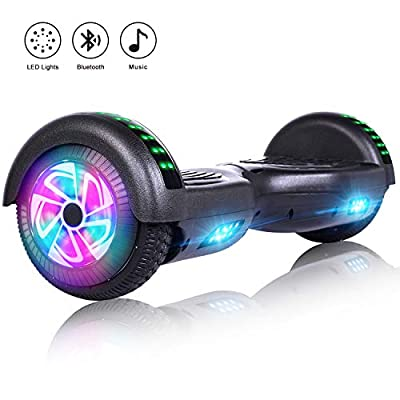 Felimoda 6.5 Inch Self Balancing Hoverboards Scooter Two Wheel Balance Board with LED Light Built-in Wireless Speakers -UL2272 Certified (Black)