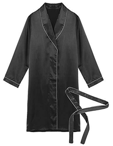 winying Herren Satin Bademantel Kurz Morgenmantel Langarm mit Stoff Gürtel Rever Kragen Jacke Mantel Mini Kleid Schwarz Large