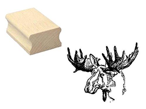 Stempel Holzstempel Motivstempel « ELCH KOPF » Scrapbooking - Embossing Basteln Wildtier Zoo Tierpark Schweden