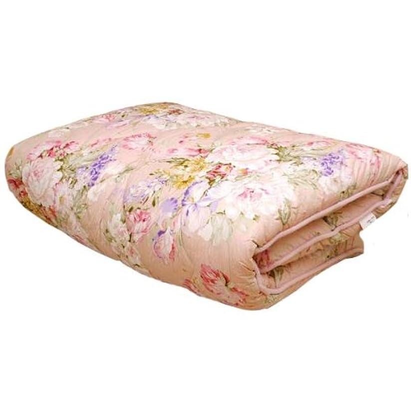 微視的協同失効極厚 敷き布団 シングル ピンク 日本製 体圧分散 羊毛混三層式プロファイル敷布団