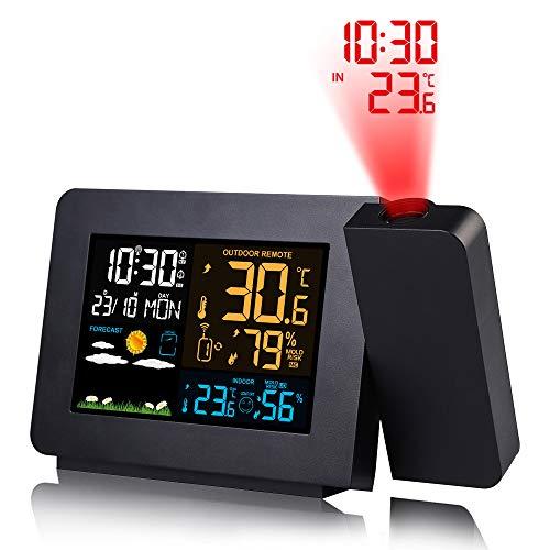 UFLIZOGH Digitale projectiewekker, met buitensensor, voor binnen en buiten, barometer, thermometer, hygrometer, voor thuis, kantoor, tuin