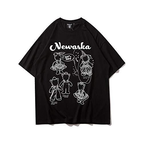 DREAMING-Sudadera De Manga Corta De Verano con Estampado De Alfabeto Camiseta De Algodón De Cuello Redondo con Estampado Suelto Top Camisa De Parejas para Hombres Y Mujeres Black X-Large