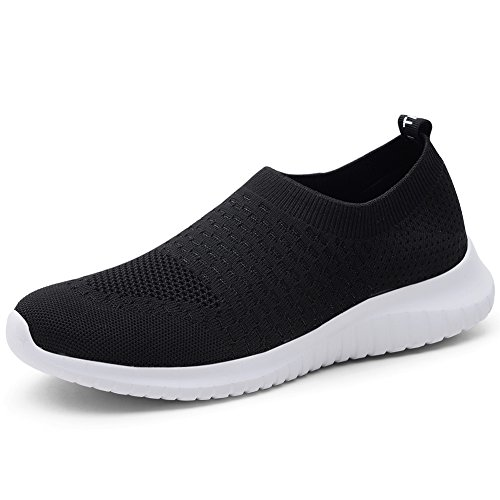 TIOSEBON Women's Walking Shoes Lightweight Breathable Yoga Travel Sneakers 6.5 US Black
